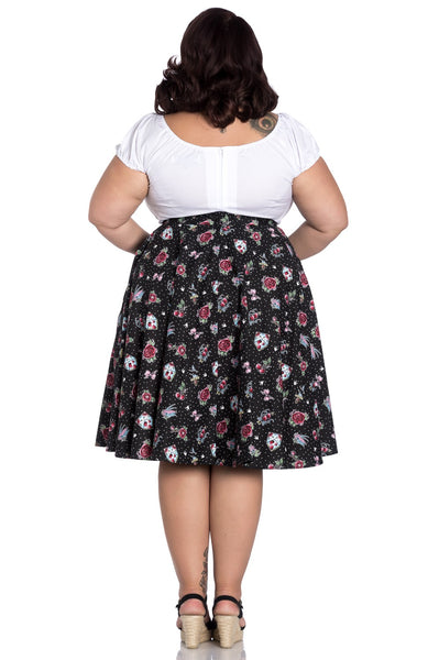Hell Bunny plus size Stevie skirt back modeled