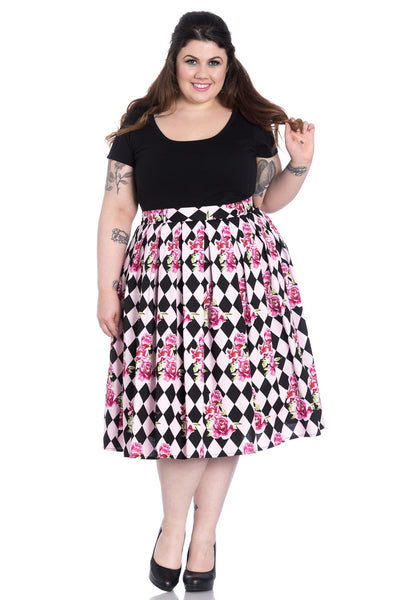 Hell Bunny Harlequin skirt plus size nZ