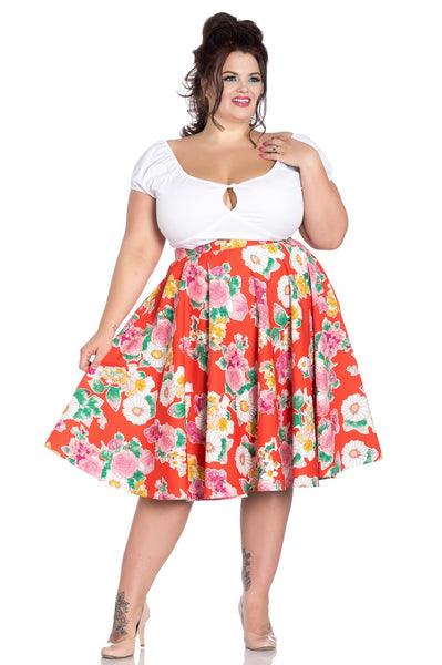 plus size Hell Bunny Marguerita orange floral skirt NZ