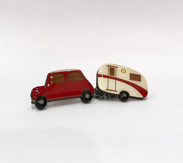 Red retro car and caravan cardie clips