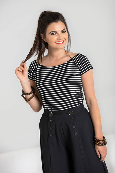 Black and white stripe Hell Bunny verity top NZ