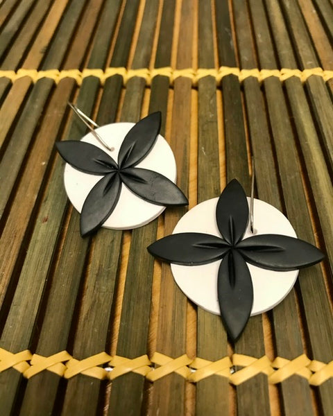 Black on White Tipani Statement earrings