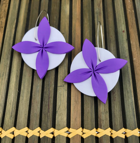Purple-white-tipani-earrings