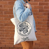 Punky Pins tote bag modeled