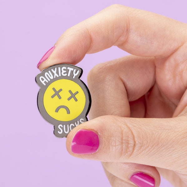 Anxiety sux enamel pin Punky Pins NZ