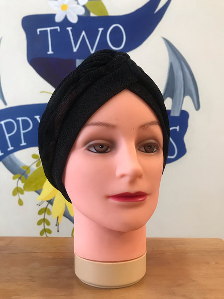 Black sparkly turban