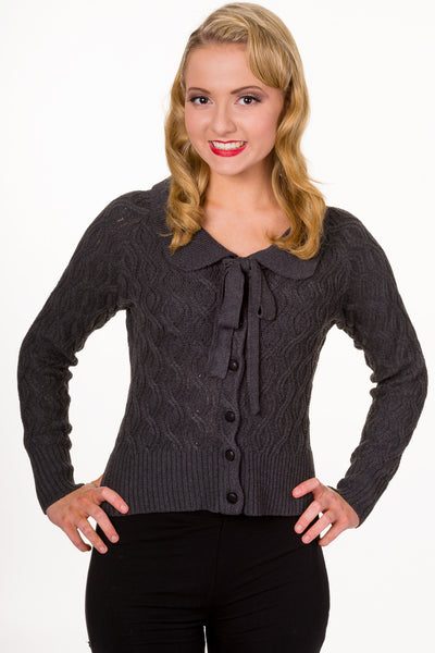 Banned Crystal charcoal cable knit cardigan
