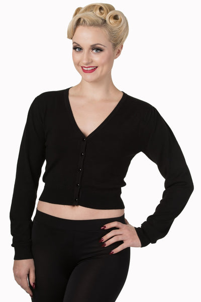 Banned cropped black pin up cardigan NZ