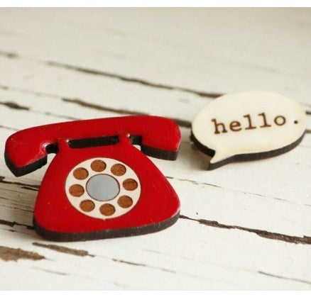 Hello telephone brooch