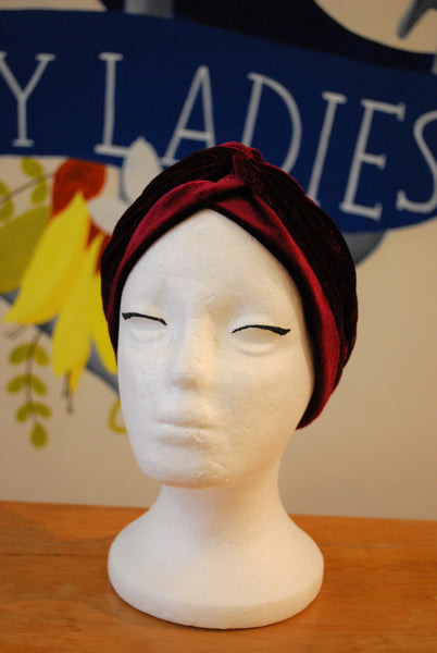 burgundy velvet turban NZ