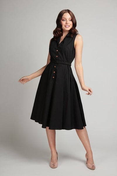 black-sleeveless-shirt-dress-Caterina-Collectif-NZ