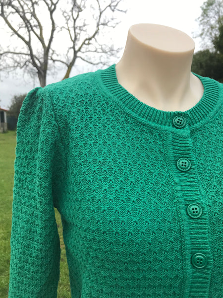 Kelly Green pointelle cardigan