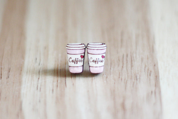 pink coffee cup earrings NZ