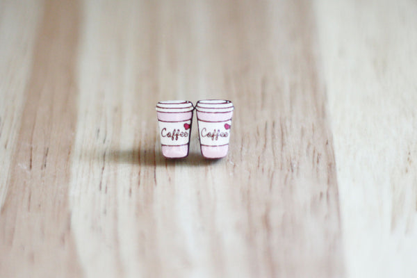 Pink coffee cup earrings