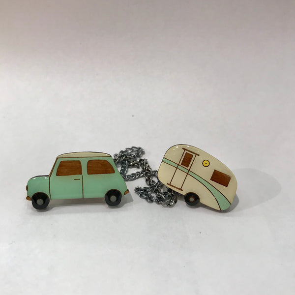 Mint retro car and caravan cardie clips