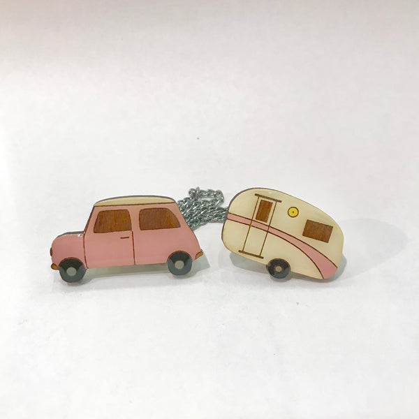 Pink retro car and caravan cardie clips