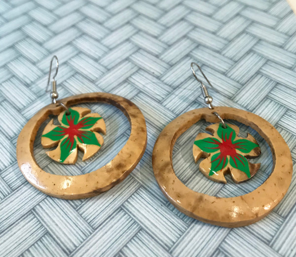Samoan coconut hoop earrings