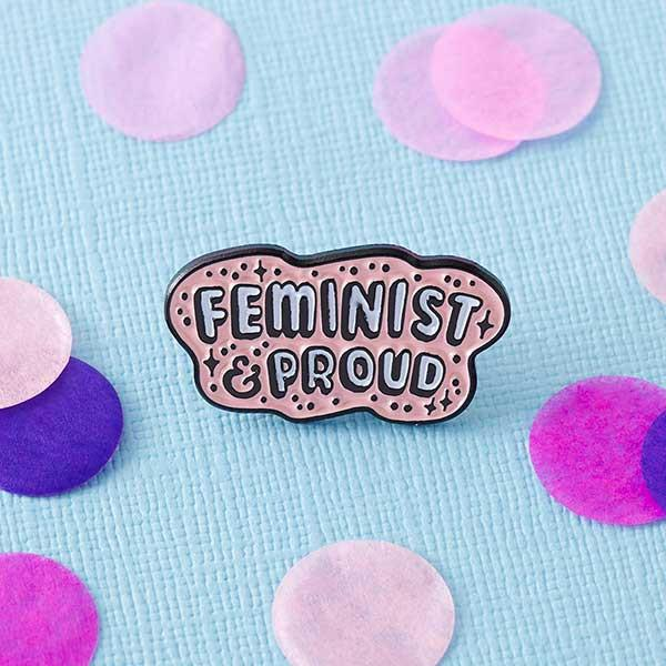 feminist and proud enamel pin Punky Pins NZ