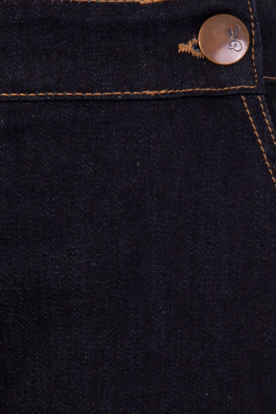 Hell Bunny Charlie navy denim capris button detail
