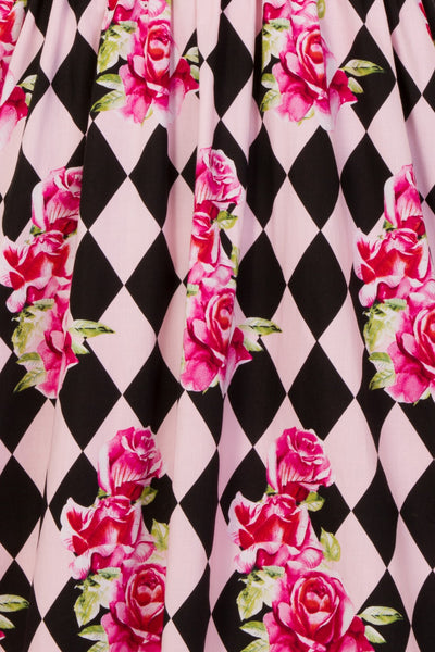 Hell Bunny Harlequin dress print detail