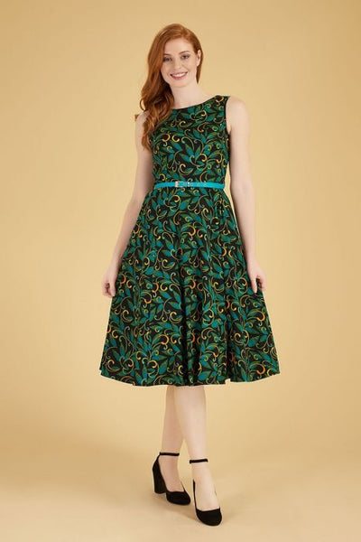 Lady Vintage Hepburn teal deco dress front modeled NZ