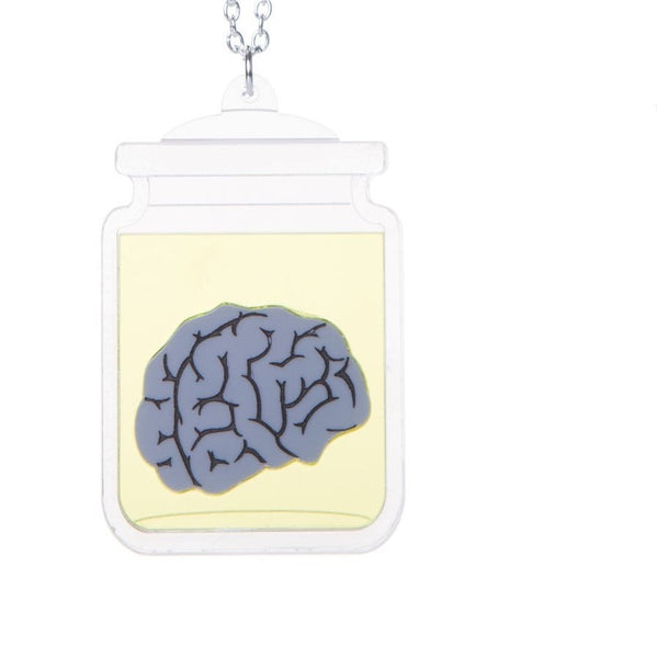 Wet specimen brain necklace