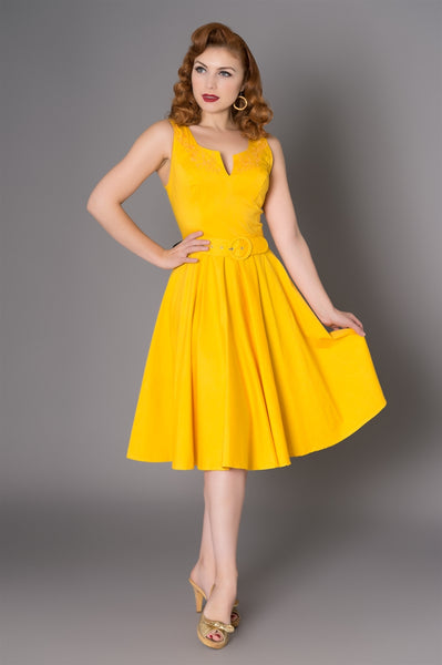Samantha-yellow-vintage-swing-dress-nz