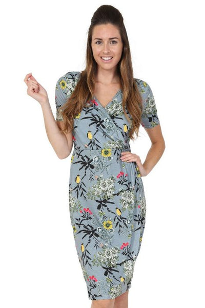 Jersey sarong dress in canary print