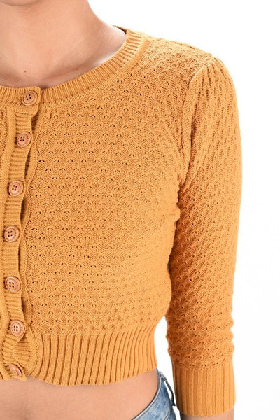 Cable knit mustard cropped cardigan