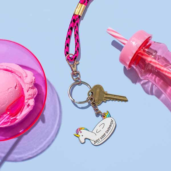 just keep swimming unicorn keyring Punky Pins