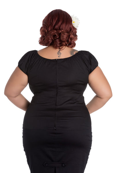 Hell Bunny plus size black Melissa top back