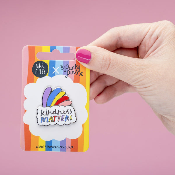 kindness matters rainbow pin Punky Pins NZ on backing card