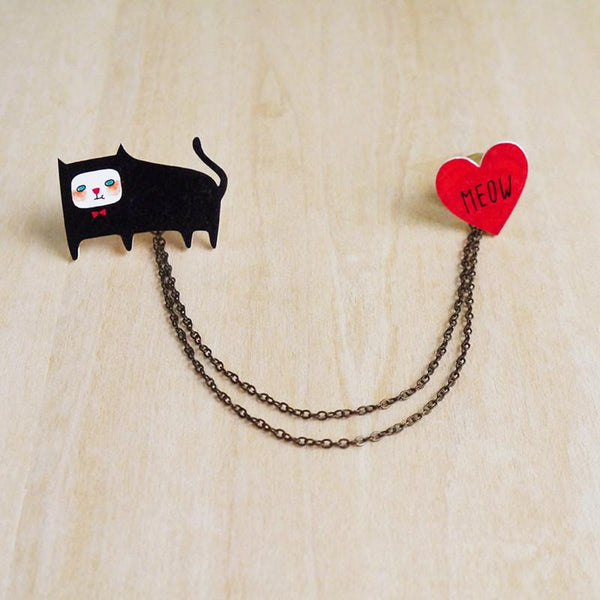 cat and meow collar pins Minifanfan NZ