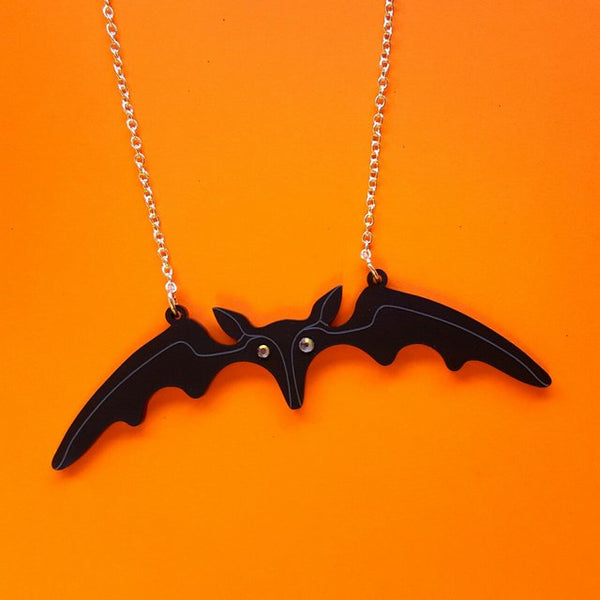 Lily Munster bat necklace