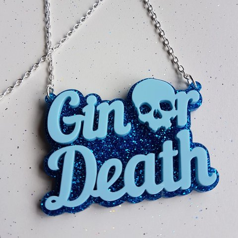 Sugar and Vice gin or death necklace blue