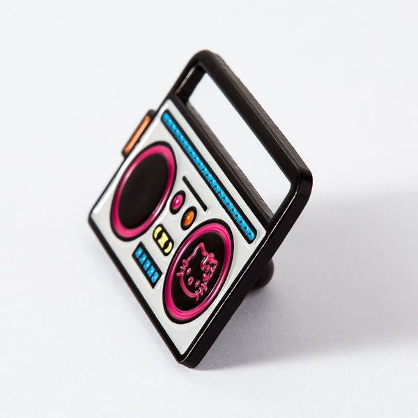 Hello Kitty boombox enamel Punky Pins side view