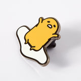 Gudetama yawn enamel pin Punky Pins NZ side view