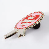 No.1 Romance Killer rosette pin Punky Pins NZ side view