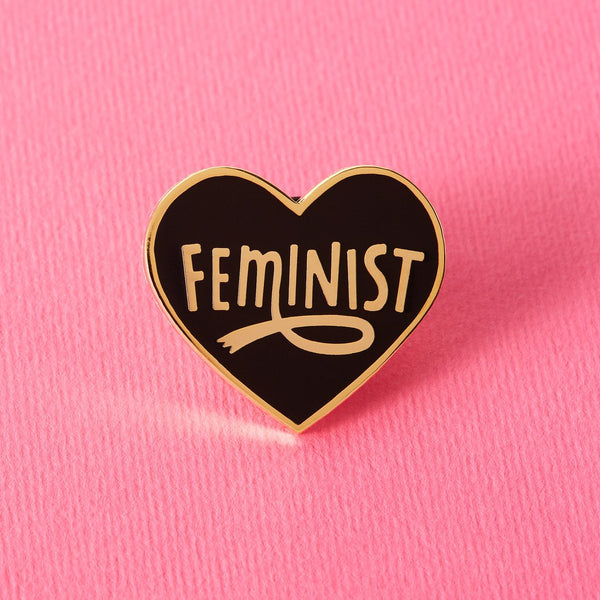 Feminist heart shaped pin black