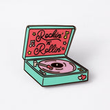 Punky Pins rockin & rollin record player pin white background