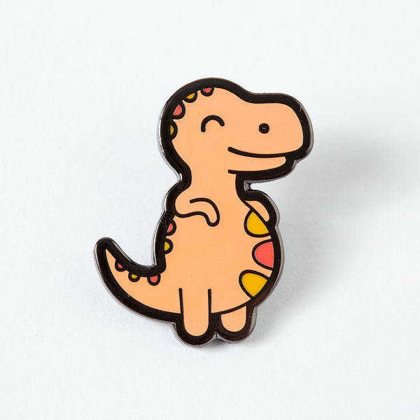 Chubby orange Dinosaur pin