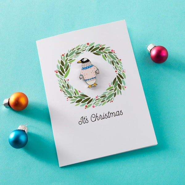 Festive AF penguin Xmas card with pin