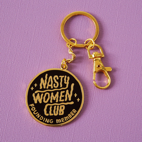nasty women club founding member keyring