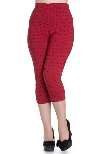 Hell Bunny Kat red/black dot capri
