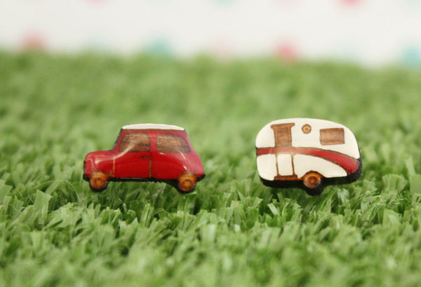 red car and caravan earrings NZ