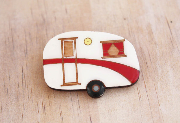 red retro caravan brooch NZ