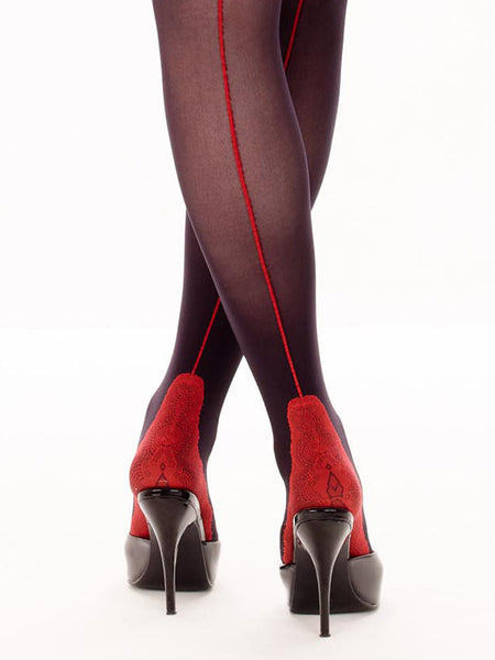 Opaque black with red seam stocking