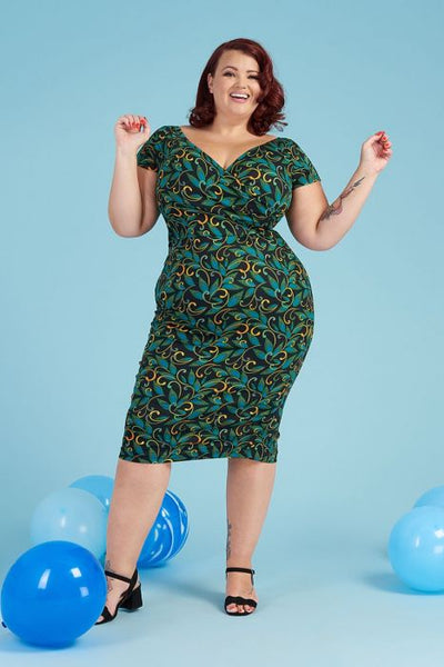 Lady Voluptuous Ursula teal deco front