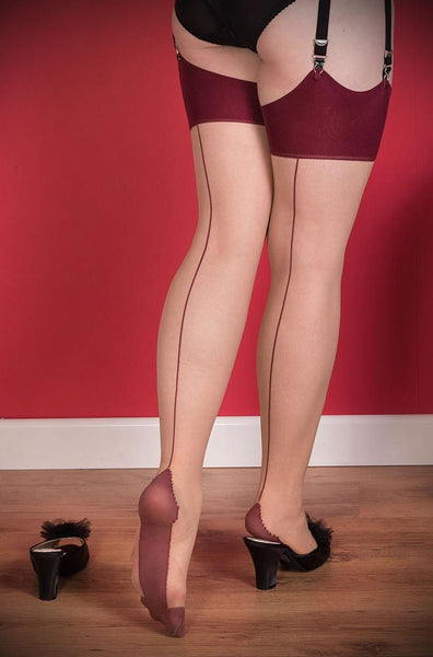 What Katie Did claret seamed stockings detail back view