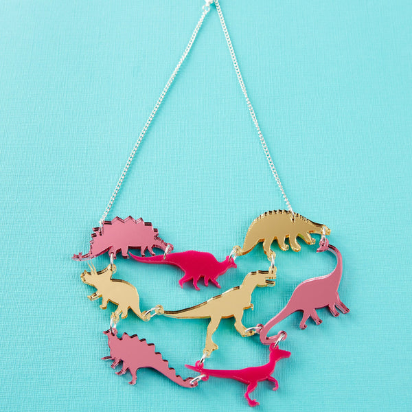 Dino-gang necklace in pink